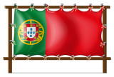 A wooden frame with the flag of Portugal