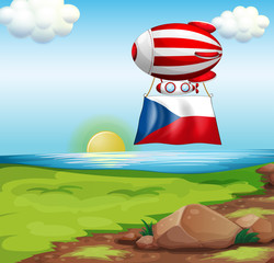 A floating balloon with the Czech Republic flag