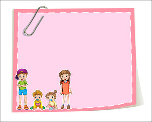 An empty paper templates with children