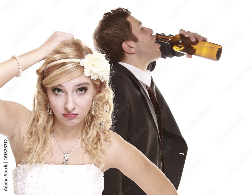 Wedding Couple Unhappy Bride Alcoholic Groom Wall Sticker ...