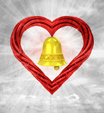golden bell in red pipe shaped heart on sky grunge background