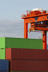 Cargo containers in container Port