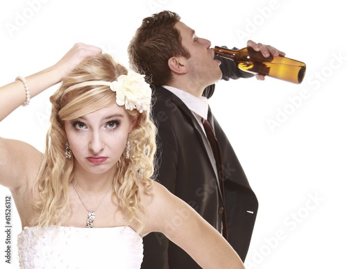 Wedding couple, unhappy bride with alcoholic groom