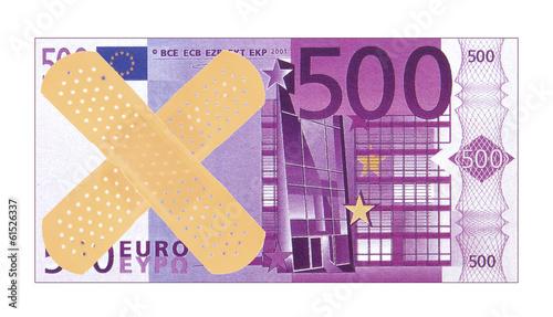 concept crise monétaire pour l'euro, pansement sur billet