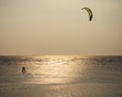man with kite surving standing in sea water against evening sun