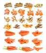 turmeric, carrot  isolated on white background
