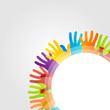 Design element with colorful hands