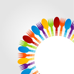 Decorative design element with colorful spoons and forks