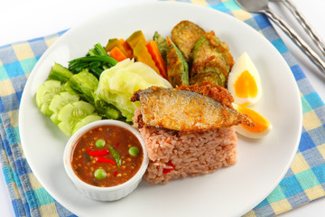 fried mackerel with thai hot and spicy  sauce mixed herb