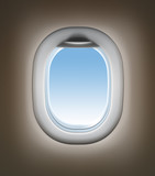 Airplane travel concept. Jet window interior.