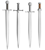 metal swords collection isolated on white