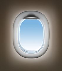 Airplane travel concept. Jet window interior.