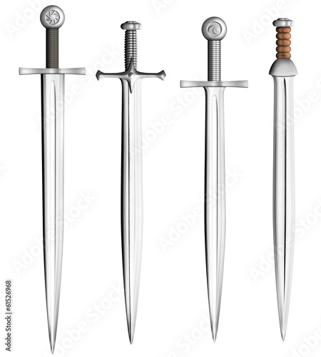 Leinwanddruck Bild metal swords collection isolated on white