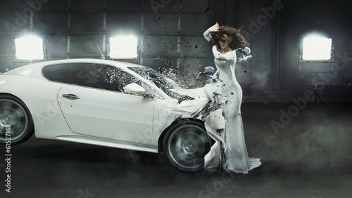 Alluring fashionable lady in the middle of car crash