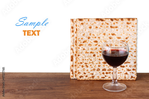 passover background. wine and matzoh (jewish passover bread)