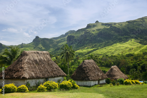 Poster Oceanië Traditional houses of Navala village, Viti Levu, Fiji