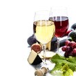 canvas print picture - Wine, grape and cheese