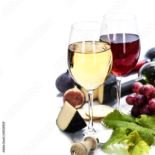 canvas print picture Wine, grape and cheese