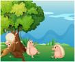 Three playful molehogs near the old tree