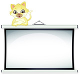 A yellow cat leaning over the empty bulletin board