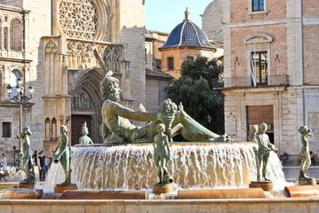 Turia Fountain on Plaza de la Virgen in Valencia, Spain