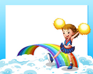 An empty template with a cheerer and a rainbow