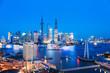 shanghai skyline and huangpu river in nightfall