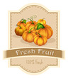 A fresh fruit label with a group of pumpkins