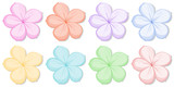 Eight five-petal flowers in different colors