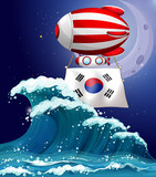 A floating balloon with the South Korean flag