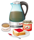 Apple jam and a pitcher of juice