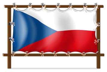 The flag of Czech Republic attached to the wooden frame