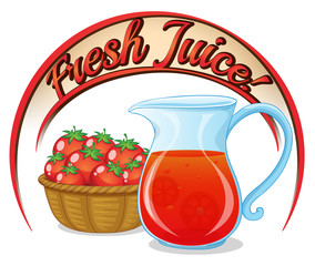 A fresh juice label with a basket of tomatoes and a pitcher of j