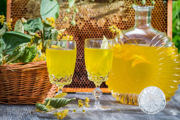 Homemade liqueur made ​​of honey and lime