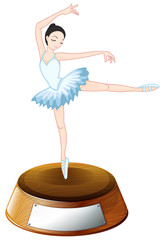 A ballerina dancer above the empty label
