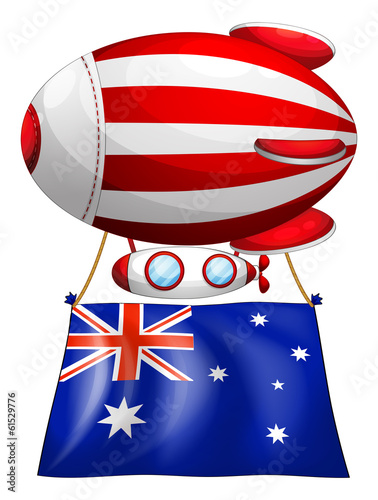 The flag of Australia attached to the floating balloon