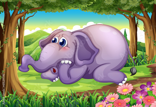 A sad elephant at the forest