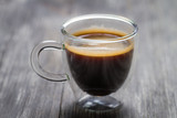 Closeup of small cup with espresso