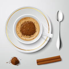 Realistic white cup with cappuccino