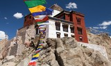 Namgyal Tsemo Gompa with prayer flags - Leh - Ladakh - India