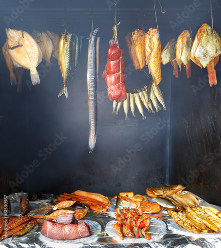 Smokehouse and  delicious marine fish, healthy food