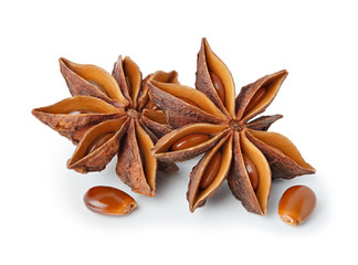 Star anise with seeds isolated on white backgroud, all in focus