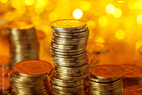 Stack of golden ukrainian coins