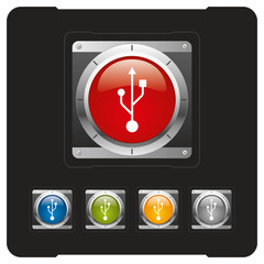 USB futuristic glossy icon or button
