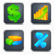 Finance icons with money, diagram and present symbol, vector