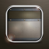 Metal square border icon on black, vector illustration