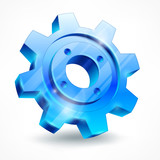 Blue gear isolated on white, mechanical vector illustration