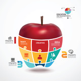 infographic Template with apple jigsaw banner . concept vector i