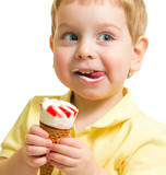 Kid eating ice cream close up portrait
