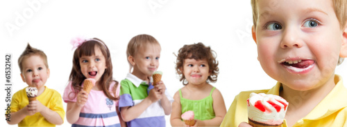 happy boy in front of kids group with ice cream isolated